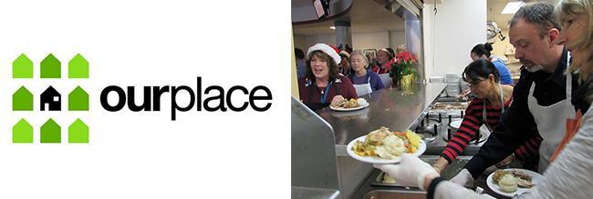 Logo  e foto do trabalho da instituição Ourplace