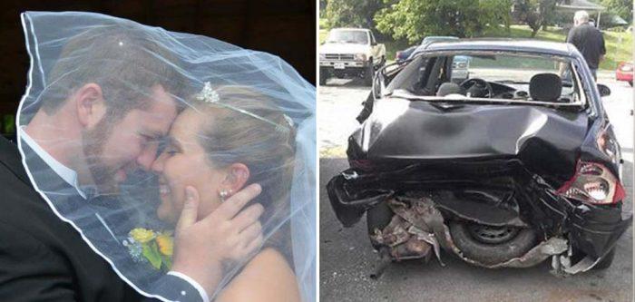 Casal Justice e Jeremy Stamper  em seu casamento e foto do acidente.