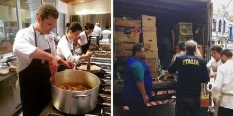 Chefs usam sobra de comida da Olimpíada para servir desabrigados