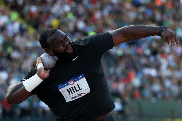 EUGENE, OR - JULY 01:  Darrell Hill participates in the Men's Shot Put Final during the 2016 U.S. Olympic Track & Field Team Trials at Hayward Field on July 1, 2016 in Eugene, Oregon.  (Photo by Patrick Smith/Getty Images)