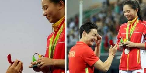 Chinesa é pedida em casamento após receber medalha da disputa no trampolim