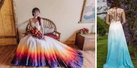 Noivas ousadas usam vestidos coloridos com a técnica Dip-Dye