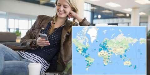 Este mapa revela senhas de Wi-Fi em aeroportos do mundo inteiro