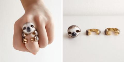 Anéis de 3 peças formam um animal quando usados juntos