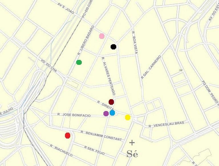 Mapa dos prédios do centro de São Paulo