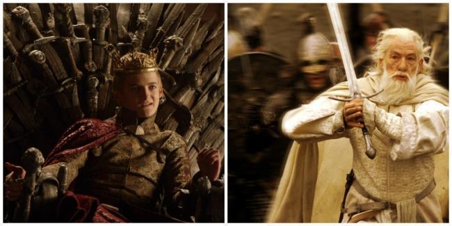 Joffrey sentado no trono de ferro e ao lado Gandalf empunhando sua espada