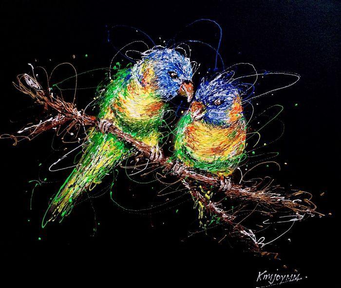 Arte com siringa as aves do amor 1