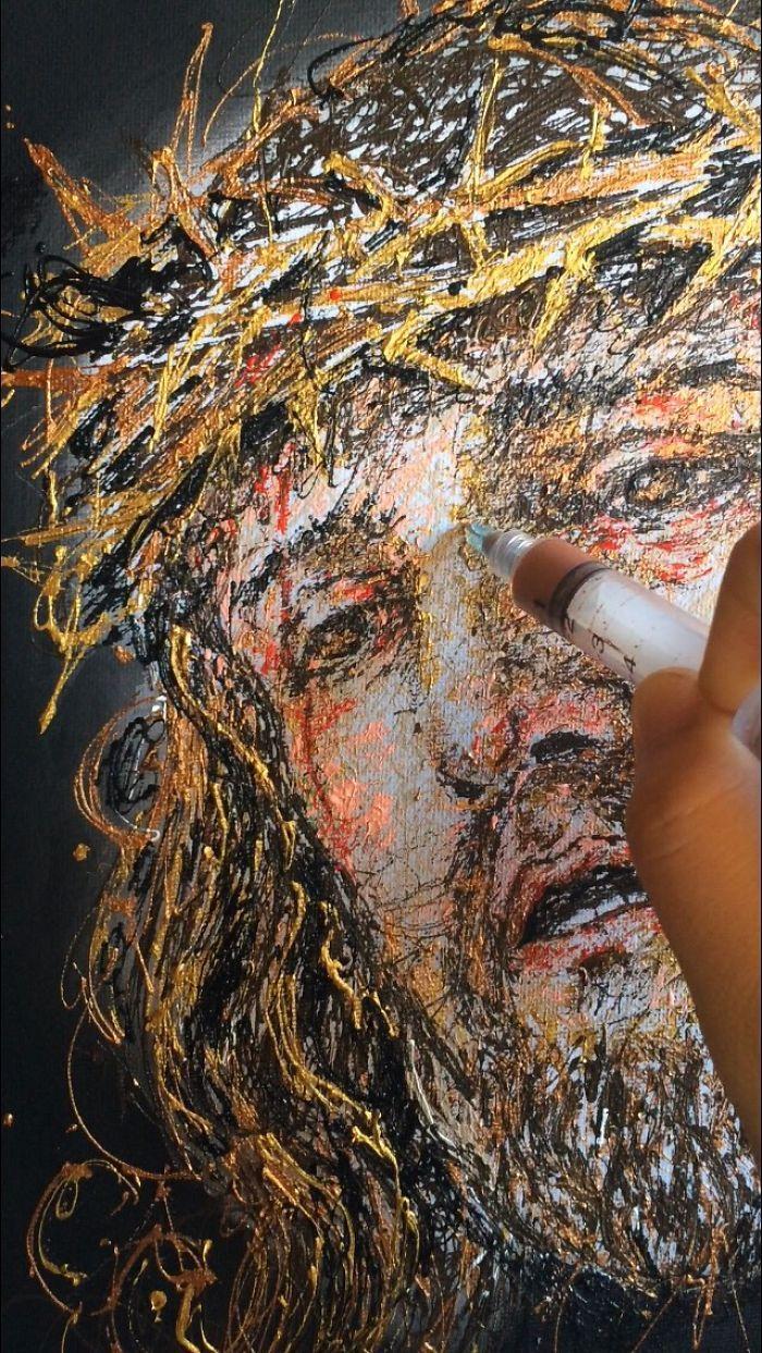 Arte com siringa Jesus Cristo 2