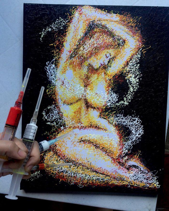 Arte com siringa Curvas 1