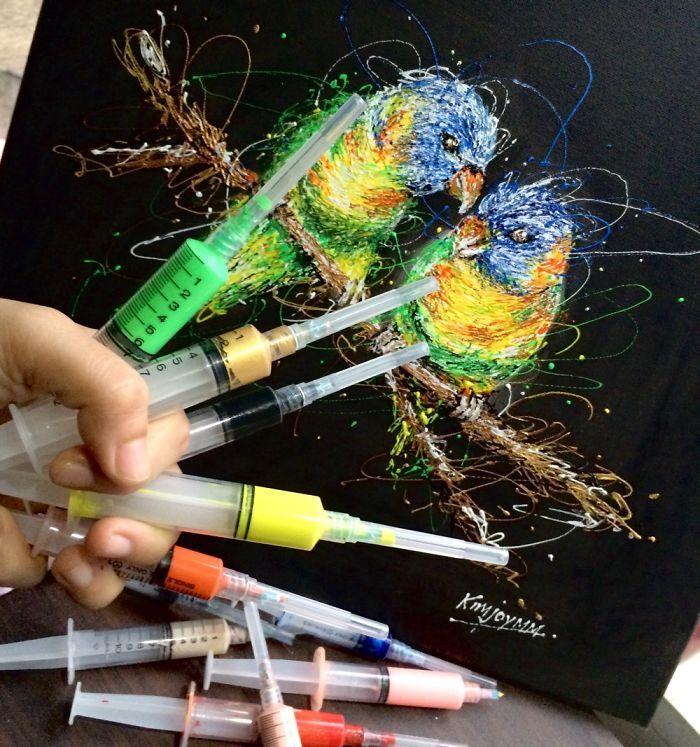 Arte com siringa as aves do amor 2