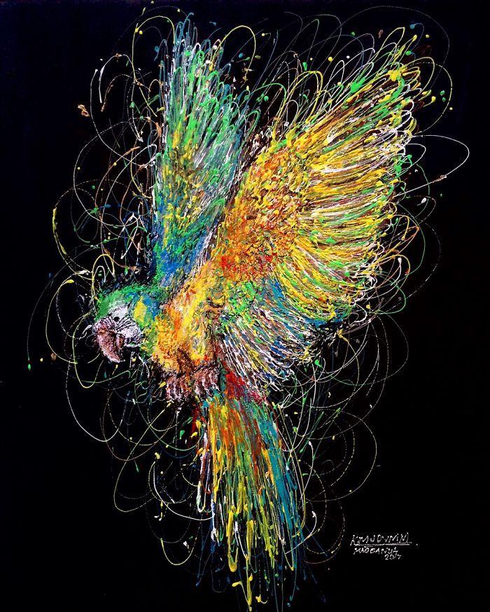 Arte com siringa arara-canindé 1
