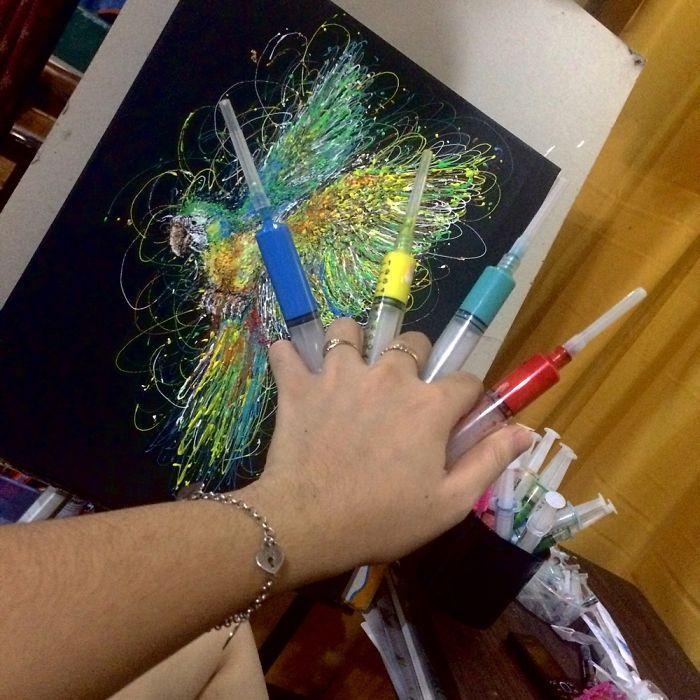 Arte com siringa arara-canindé 2