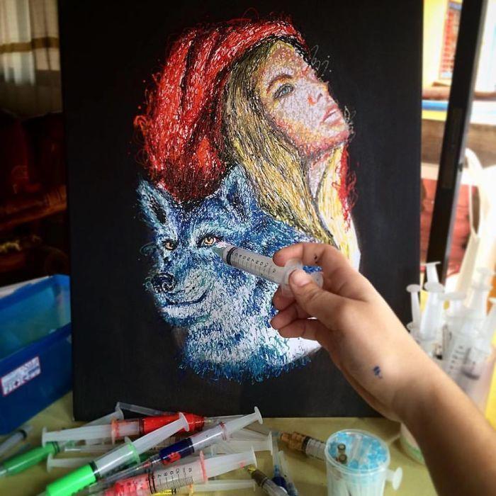 Arte com siringa Chapeuzinho Vermelho 2