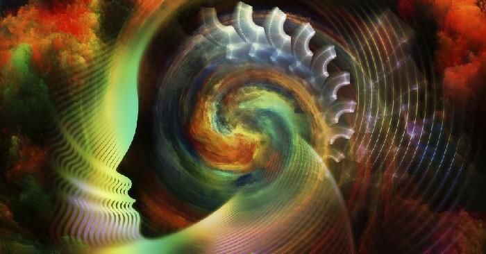 Espiral psicodélico sendo formado dentro da cabeça de uma pessoa