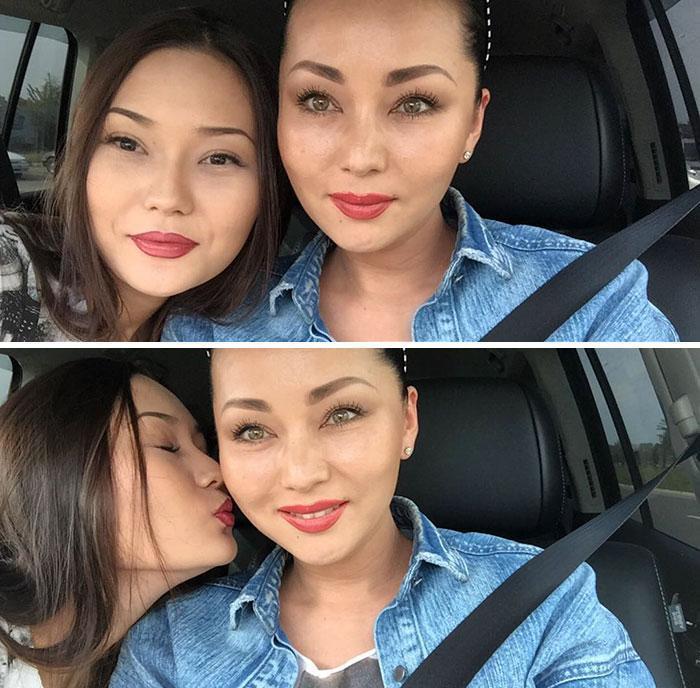 Mãe e filhas que aparentam ter a mesma idade 15