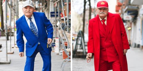 Toda manhã este senhor de 87 anos vai trabalhar com um look estiloso