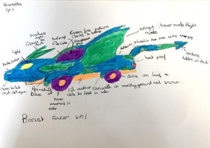 Carros do futuro desenhados por criança 1