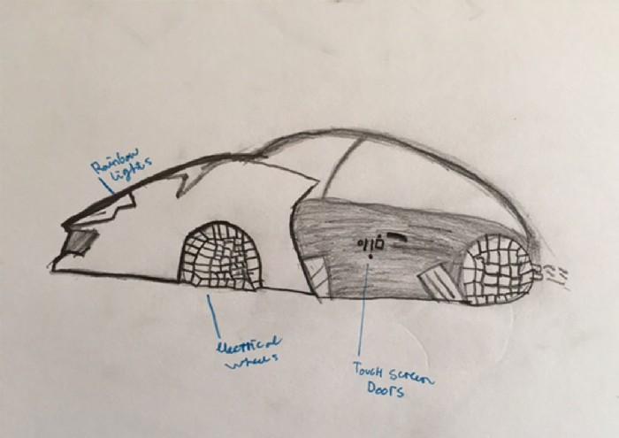 Carros do futuro desenhados por criança 17