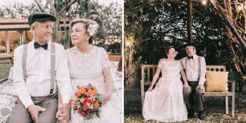 Eles não tinham fotos do casamento, então reviveram o momento após 60 anos