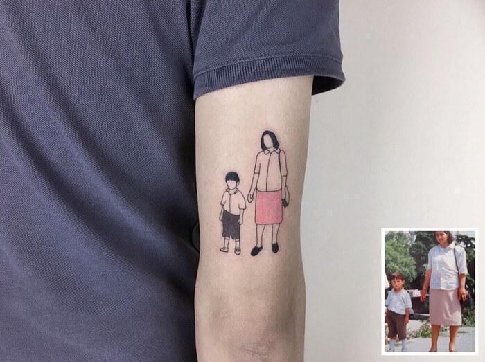 Artista eterniza fotos da inf ncia atrav s de tatuagens for Foto minimaliste
