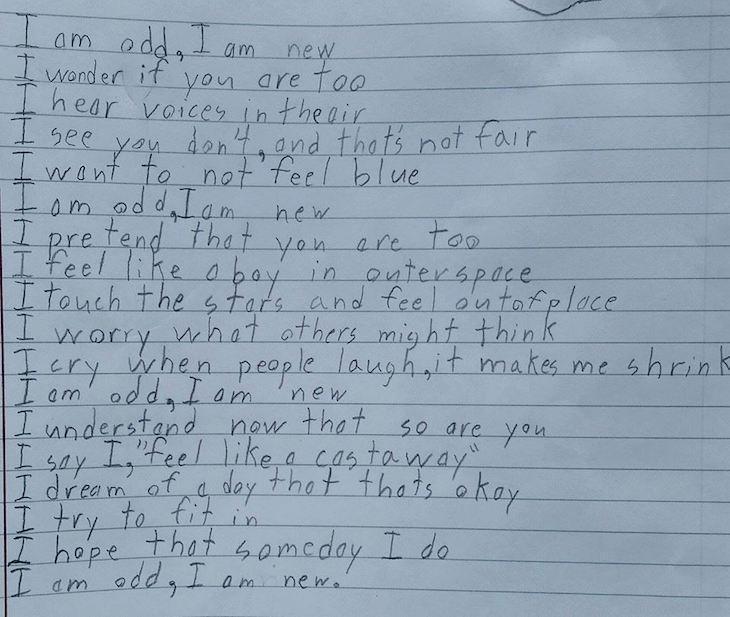 Garoto com autismo escreve poema para expressar seus sentimentos 2