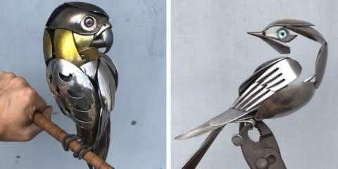 Artista cria esculturas incríveis de pássaros a partir de metal descartado