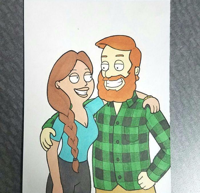 Ilustrador transforma si mesmo e namorada em desenhos animados famosos (4)