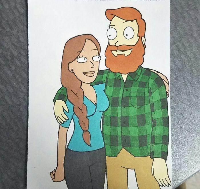 Ilustrador transforma si mesmo e namorada em desenhos animados famosos (1)