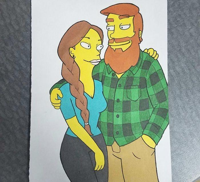 Ilustrador transforma si mesmo e namorada em desenhos animados famosos (8)