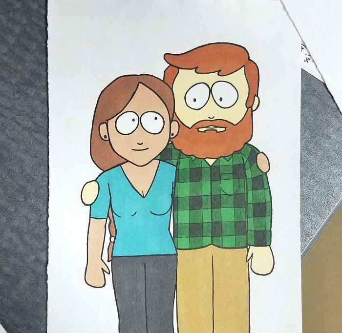 Ilustrador transforma si mesmo e namorada em desenhos animados famosos (7)