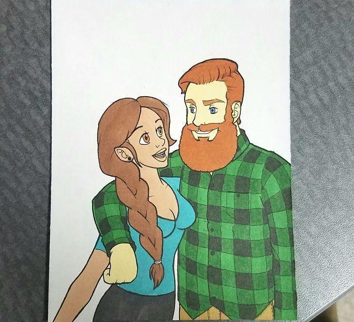 Ilustrador transforma si mesmo e namorada em desenhos animados famosos (6)