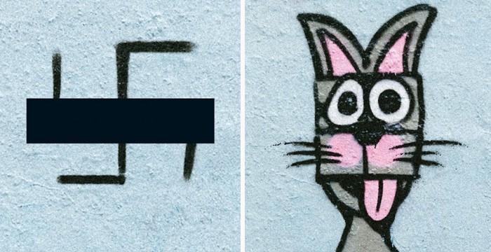 Artistas cobrem suásticas com grafite com o Projeto Paintback (3)