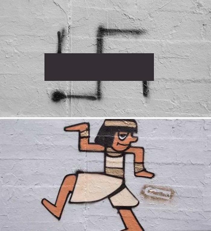 Artistas cobrem suásticas com grafite com o Projeto Paintback (2)