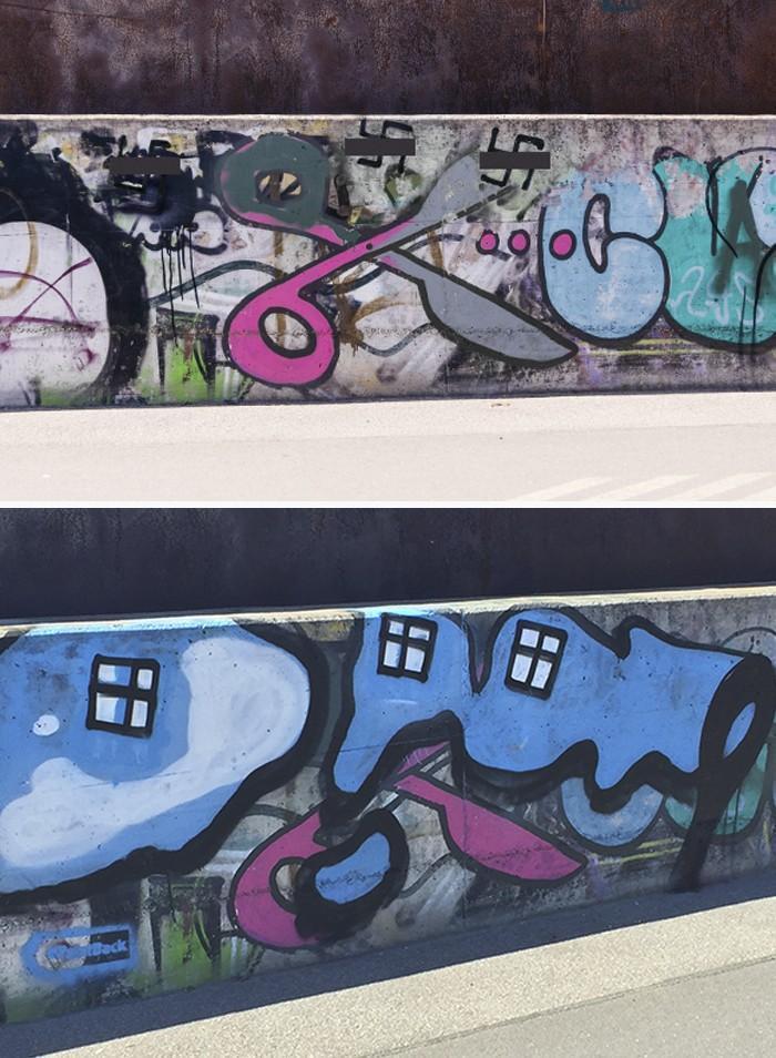 Artistas cobrem suásticas com grafite com o Projeto Paintback (8)