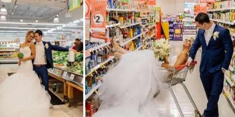 Noivos tiram fotos de casamento em um lugar diferente: um supermercado