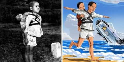 Ilustrador transforma fotos históricas de tristeza em momentos felizes