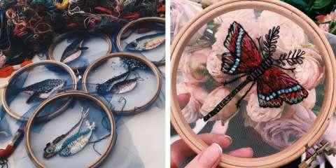 Artista russa cria lindos bordados em tule inspirados na natureza