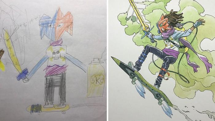 Pai desenhista transforma desenhos dos filhos em personagens de animes (26)