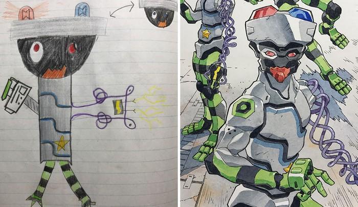 Pai desenhista transforma desenhos dos filhos em personagens de animes (17)