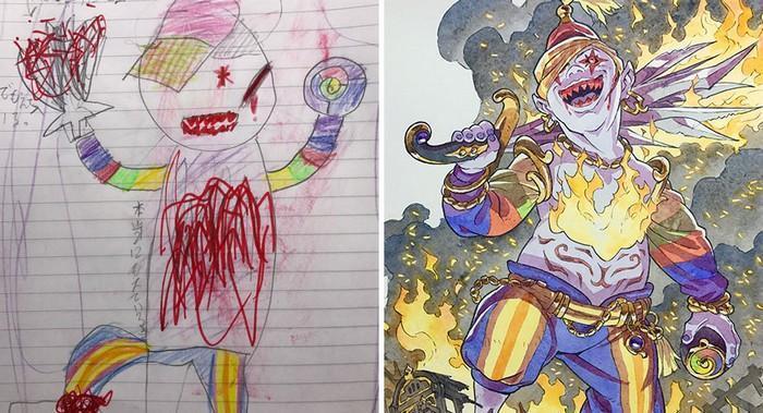 Pai desenhista transforma desenhos dos filhos em personagens de animes (16)