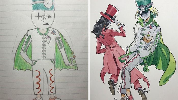Pai desenhista transforma desenhos dos filhos em personagens de animes (14)