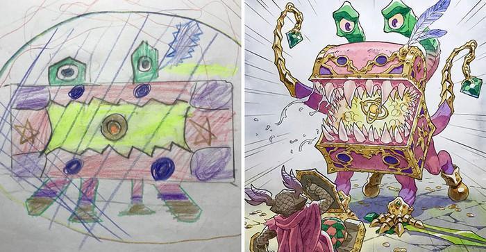 Pai desenhista transforma desenhos dos filhos em personagens de animes (13)