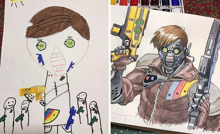 Pai desenhista transforma desenhos dos filhos em personagens de animes (11)