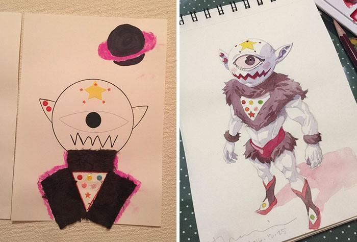 Pai desenhista transforma desenhos dos filhos em personagens de animes (10)