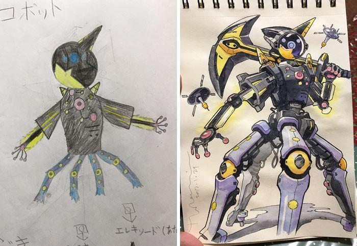 Pai desenhista transforma desenhos dos filhos em personagens de animes (9)