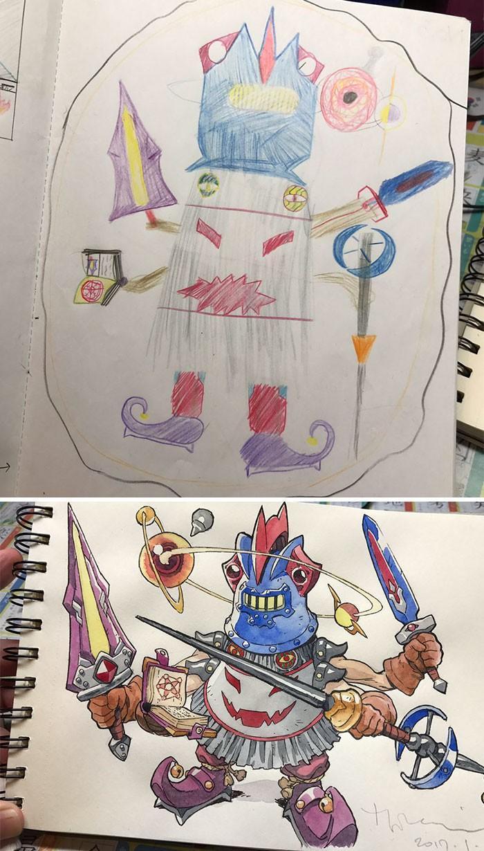 Pai desenhista transforma desenhos dos filhos em personagens de animes (8)