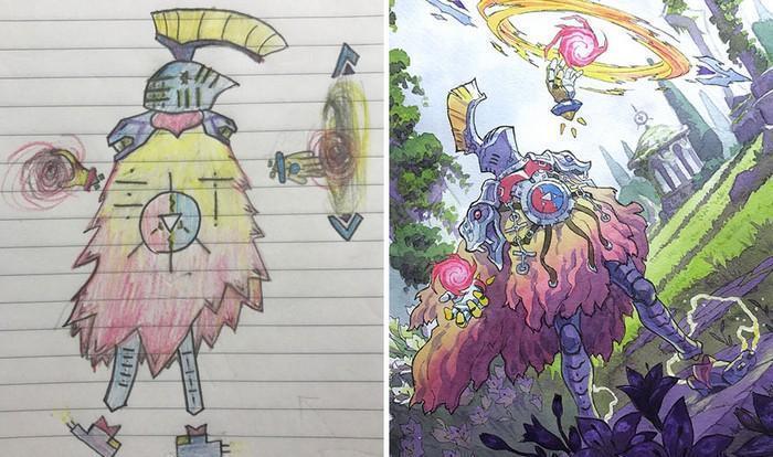 Pai desenhista transforma desenhos dos filhos em personagens de animes (25)