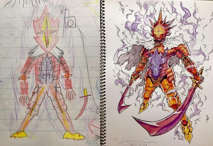 Pai desenhista transforma desenhos dos filhos em personagens de animes (7)