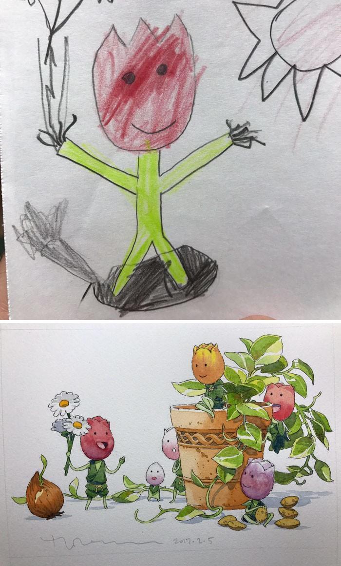 Pai desenhista transforma desenhos dos filhos em personagens de animes (6)