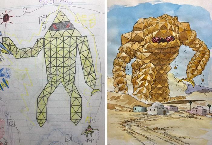 Pai desenhista transforma desenhos dos filhos em personagens de animes (5)